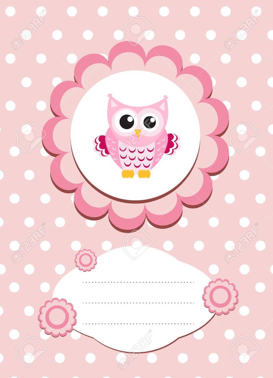 Baby card cute owl baby owl invitation frame for text cute baby card cute owl baby owl invitation frame for text cute animal cartoon stopboris Choice Image