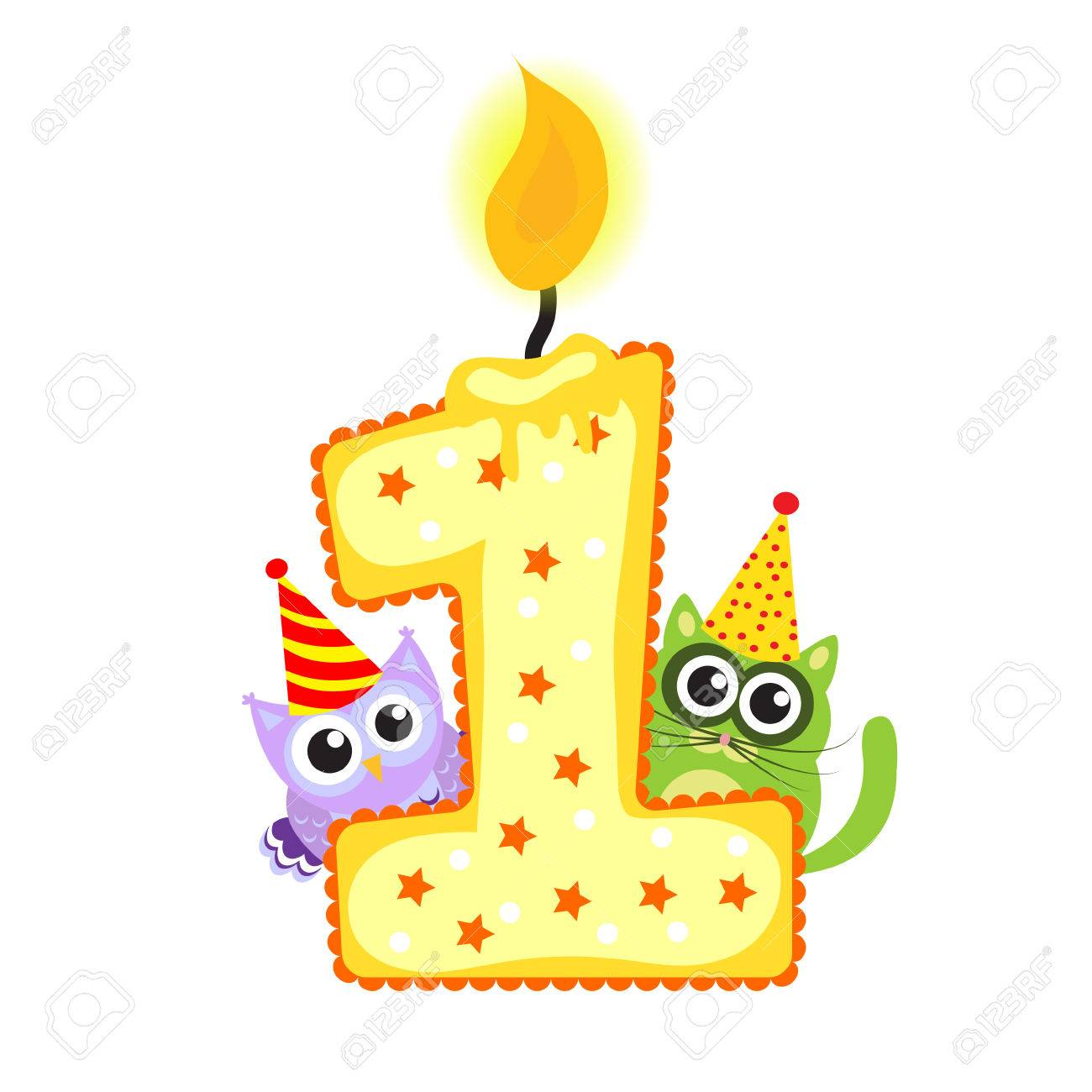 Happy First Birthday Candle And Animals Isolated On White 1 Year Childrens Card