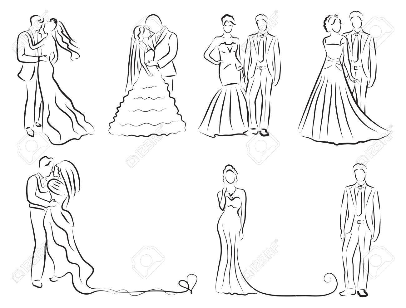 新郎新婦セット、新婚夫婦のスケッチ、手書き、結婚式招待状、ベクトル イラストのシルエット