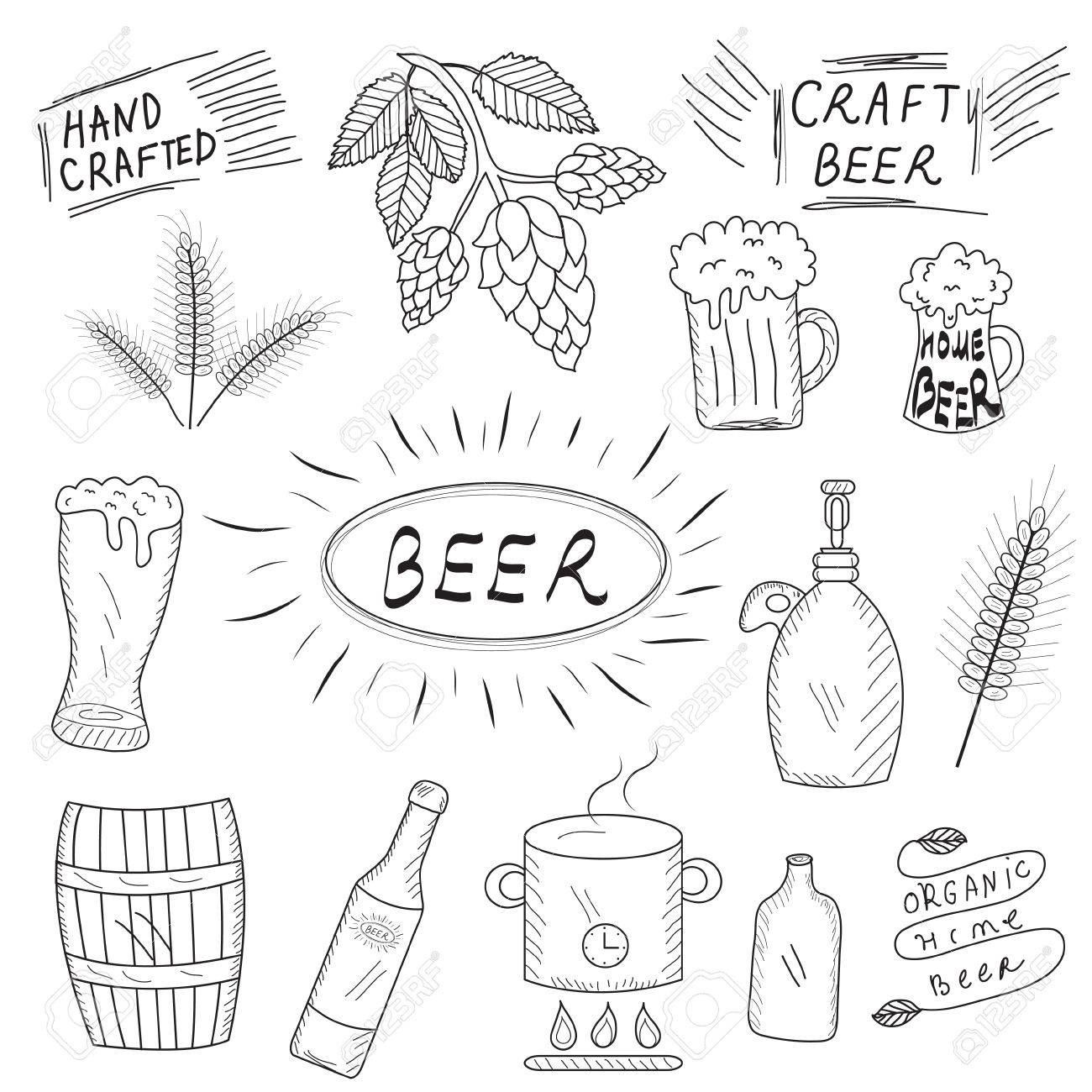 The Set Of Hand Drawn Sketch Of Beer And Home Brewery Home