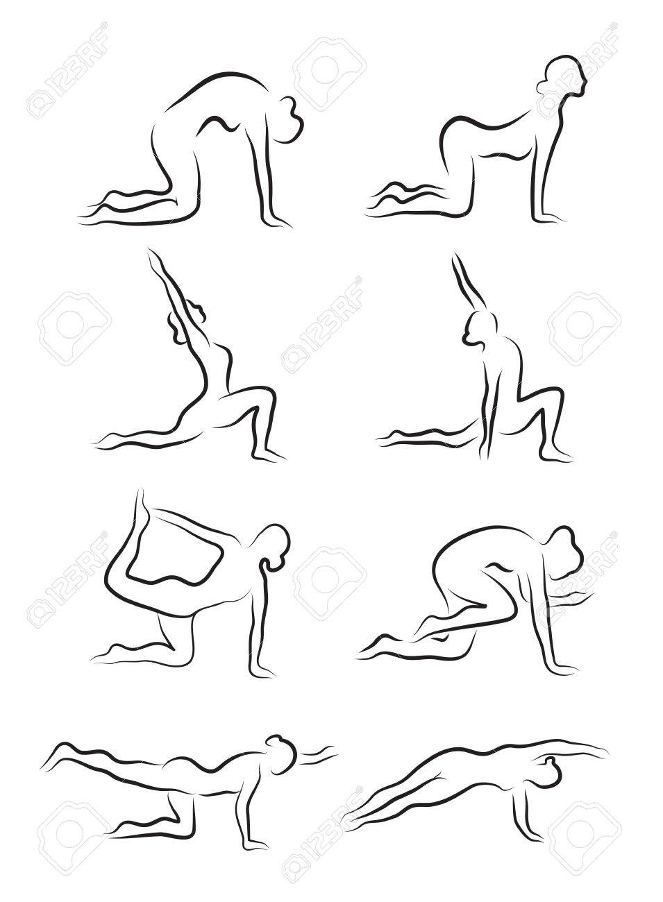 Set Of Sketches Silhouettes Yoga Asanas The Girl Is Engaged In