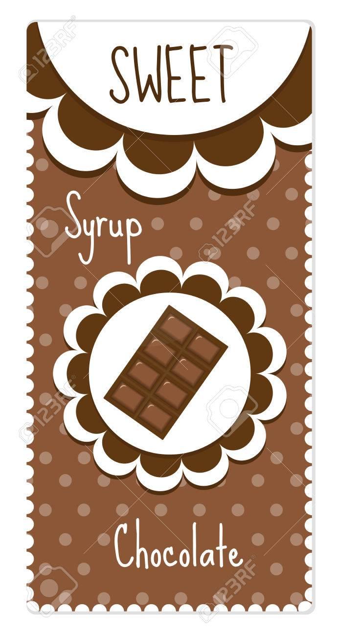 Süße Schokolade Etiketten Für Getränke, Sirup. Lizenzfrei Nutzbare ...