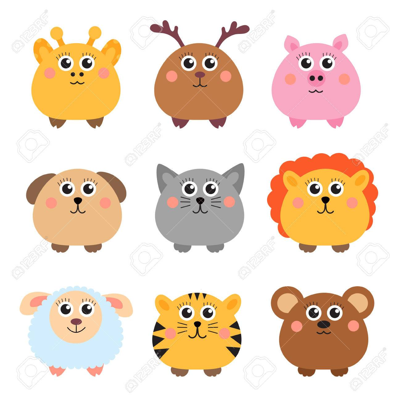 Funny Videos Set Of Cute Animals Rounded Shape Round Animals Vector Illustration Stock Vector 58898814 123rfcom Set Of Cute Animals Rounded Shape Round Animals Vector