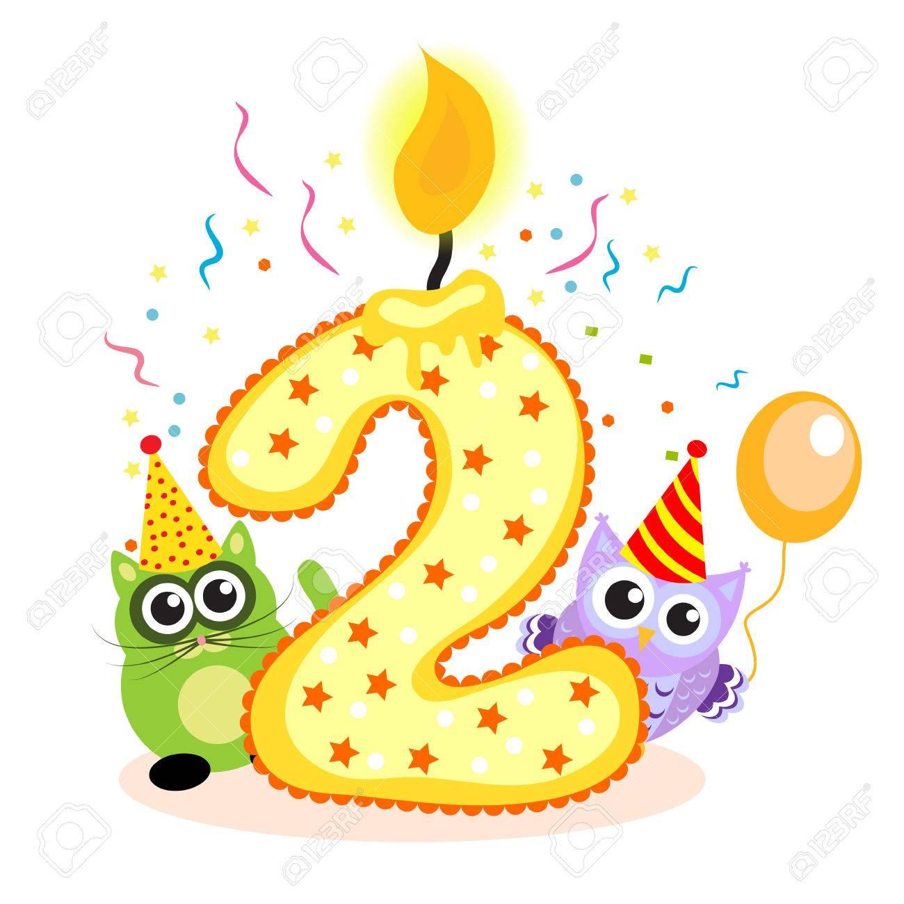 Tweede Verjaardag.Gelukkige Tweede Verjaardag Kaarsen En Dieren Geisoleerd Op Wit De Nummer Twee Vector Illustratie