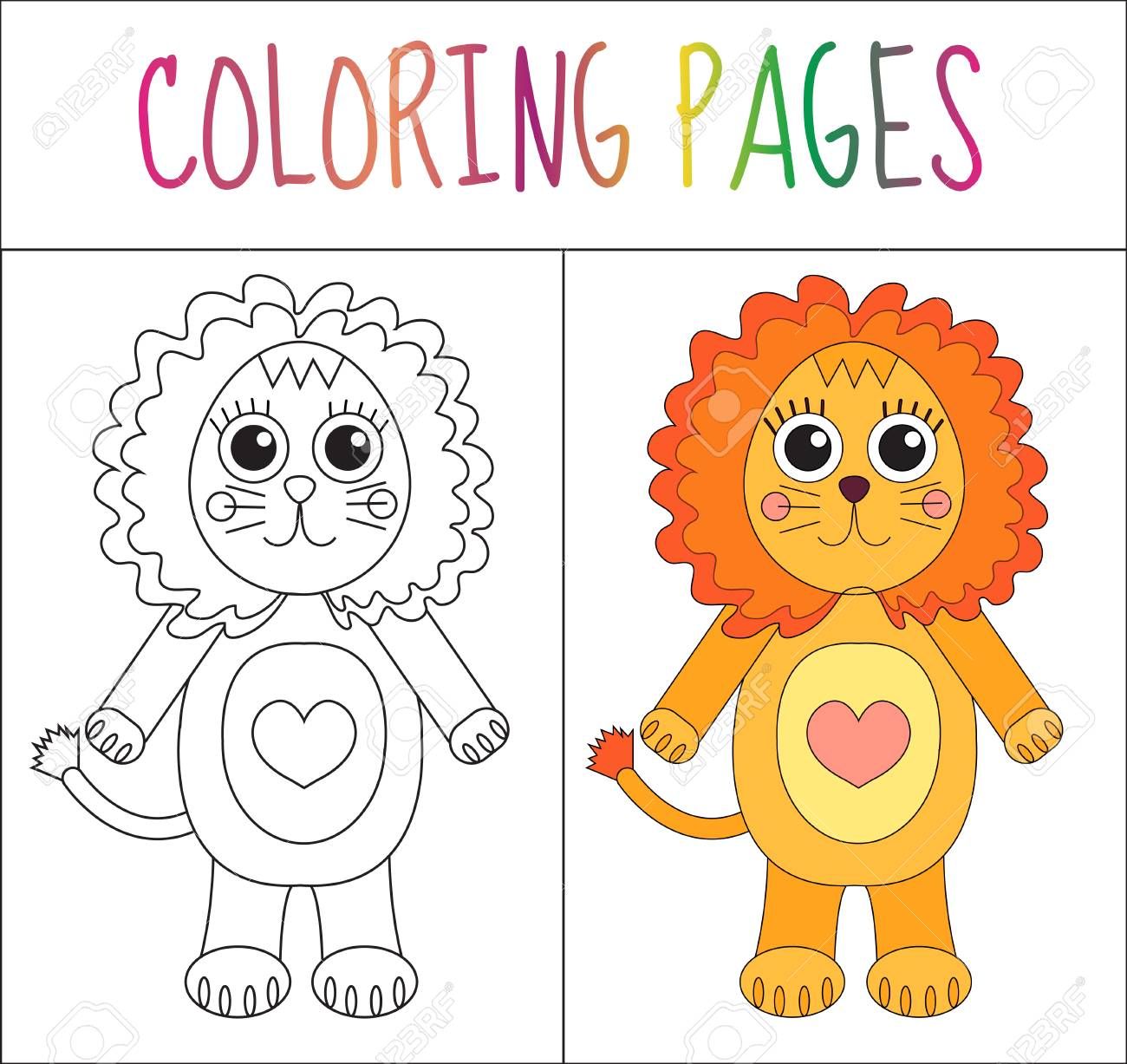 Coloring Book Page Lion Sketch And Color Version For Kids Vector
