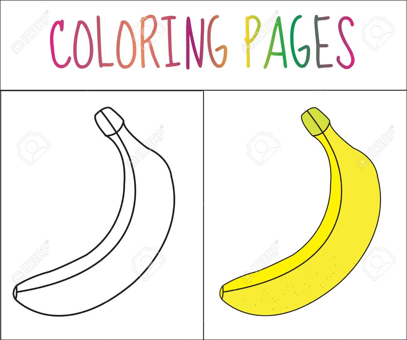 Colorear Pagina Del Libro Platano Croquis Y Version En Color