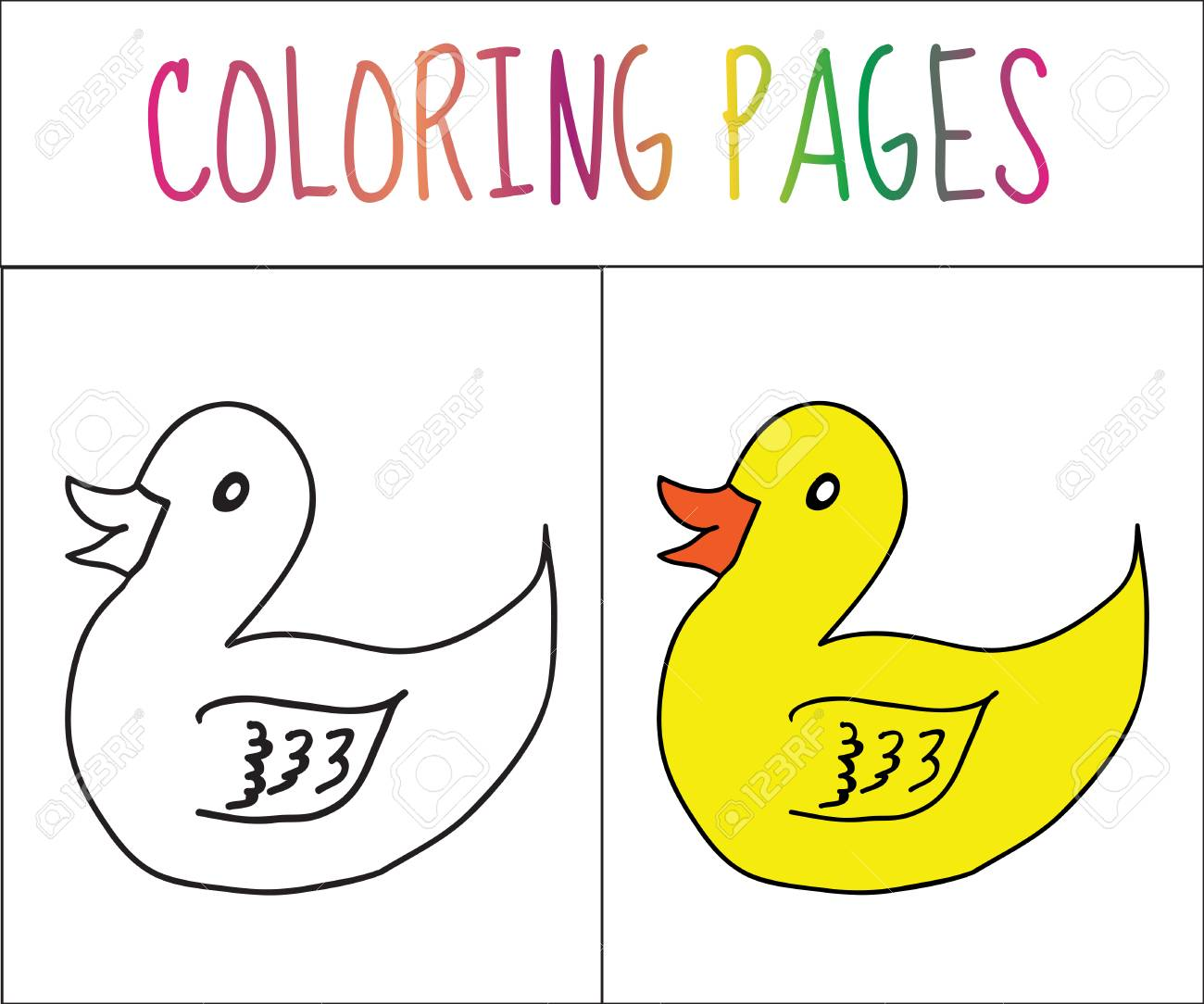 Coloring Book Page Duck Sketch And Color Version For Kids Vector