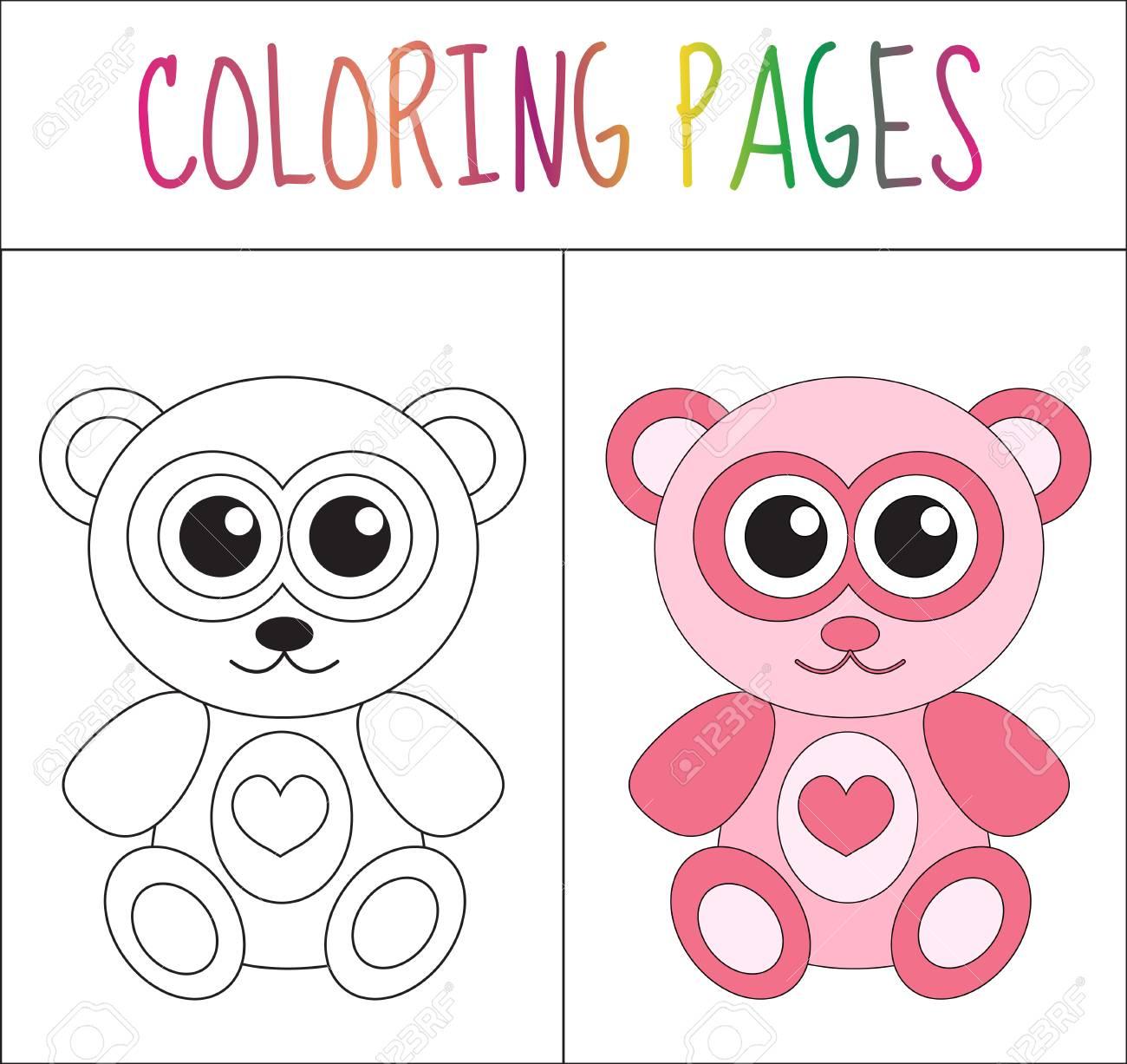 Libro De Colorear Oso De Peluche. Croquis Y Versión En Color ...