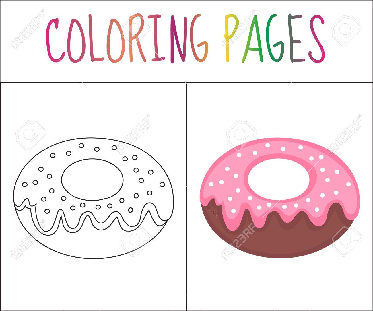 Colorear Página Del Libro. Rosquilla. Croquis Y Versión En Color