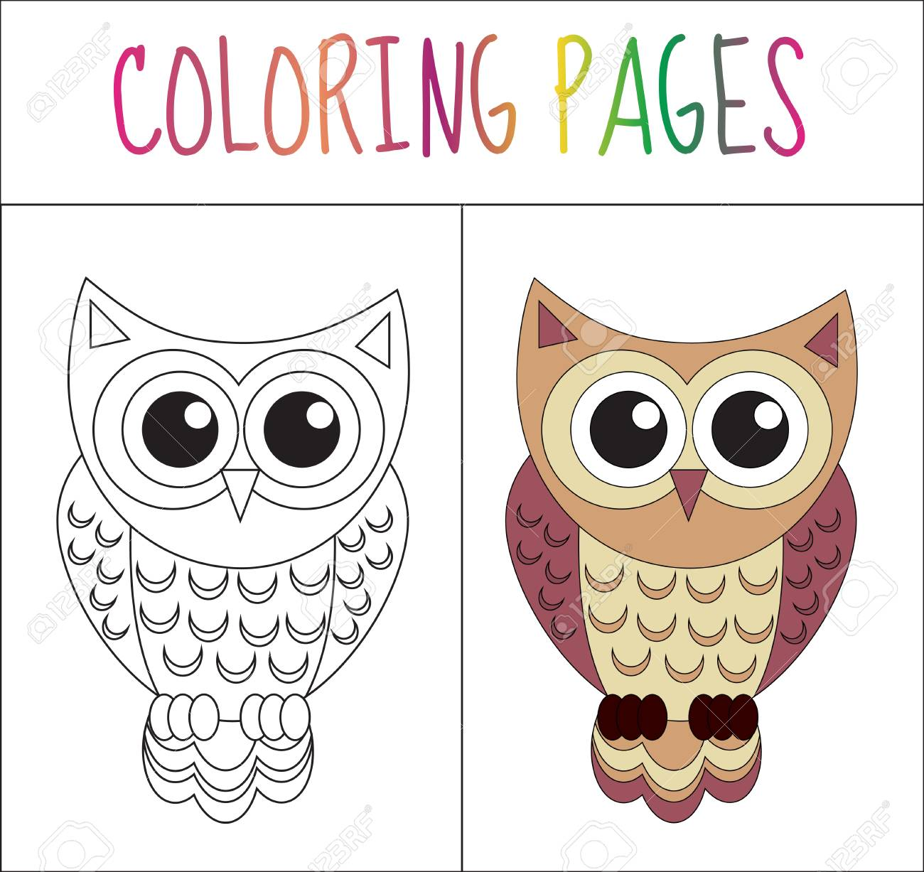 Coloring Book Page. Owl. Sketch And Color Version. Coloring For ...