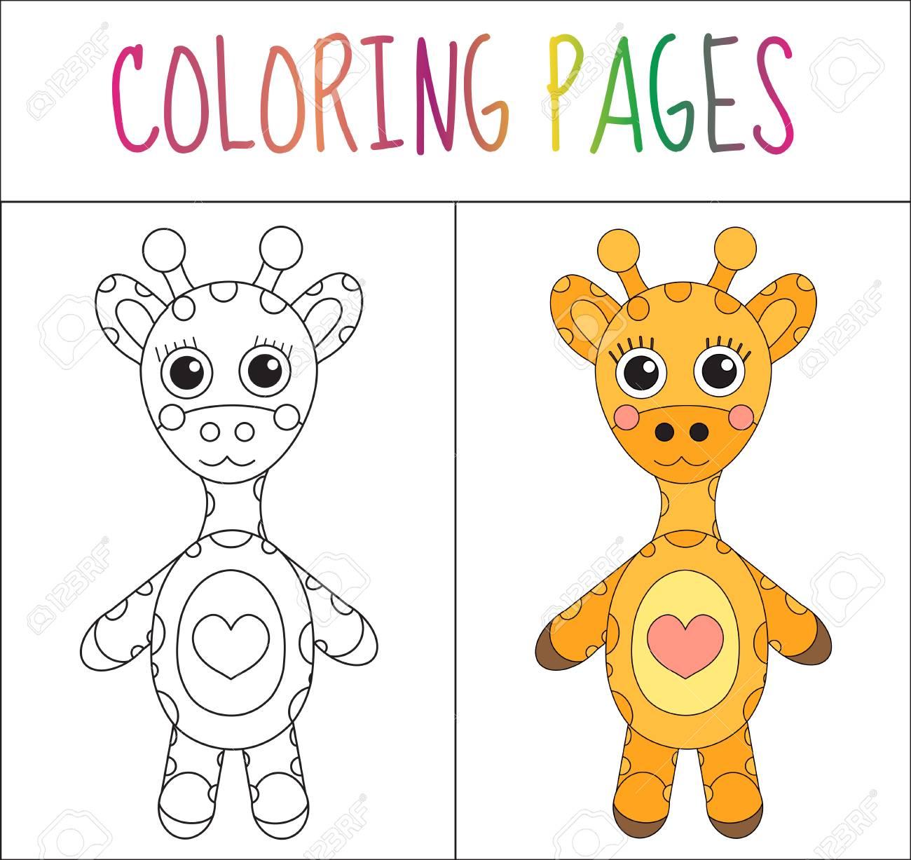 Colorear Página Del Libro. Jirafa. Croquis Y Versión En Color ...