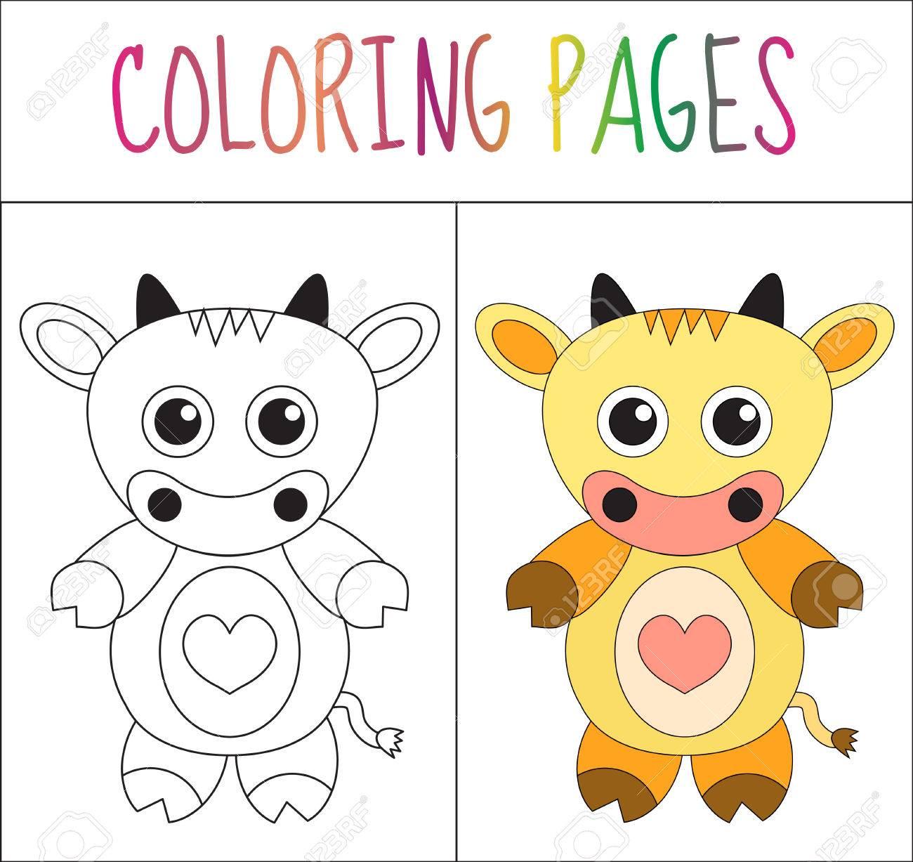 Colorear Página Del Libro. Vaca. Croquis Y Versión En Color. Dibujos ...
