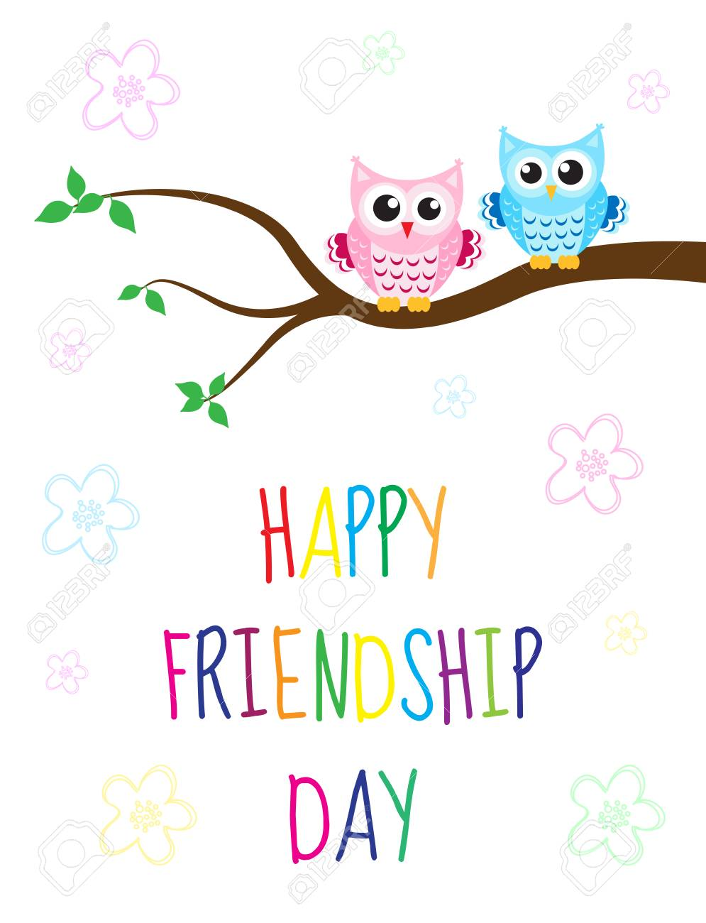 Charming Greeting Card With A Happy Friendship Day. Greeting Card Cute Cartoon Owl  Sitting On A