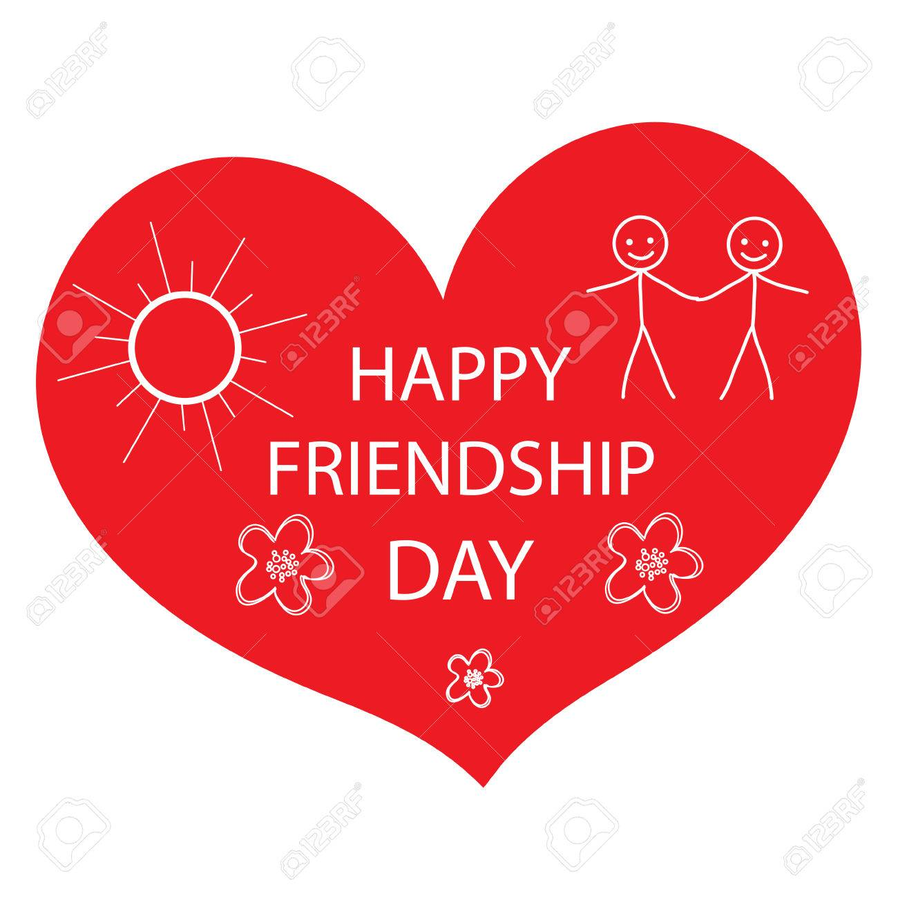 Greeting Card With A Happy Friendship Day Greeting Heart Hand