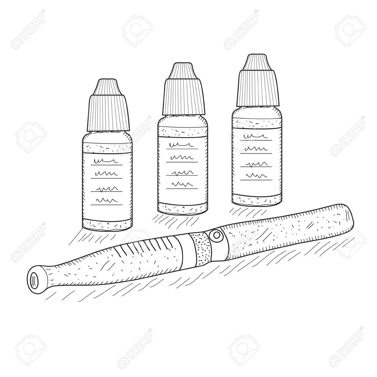Vettoriale Schizzo Di Sigarette Elettroniche Stile Di Disegno A