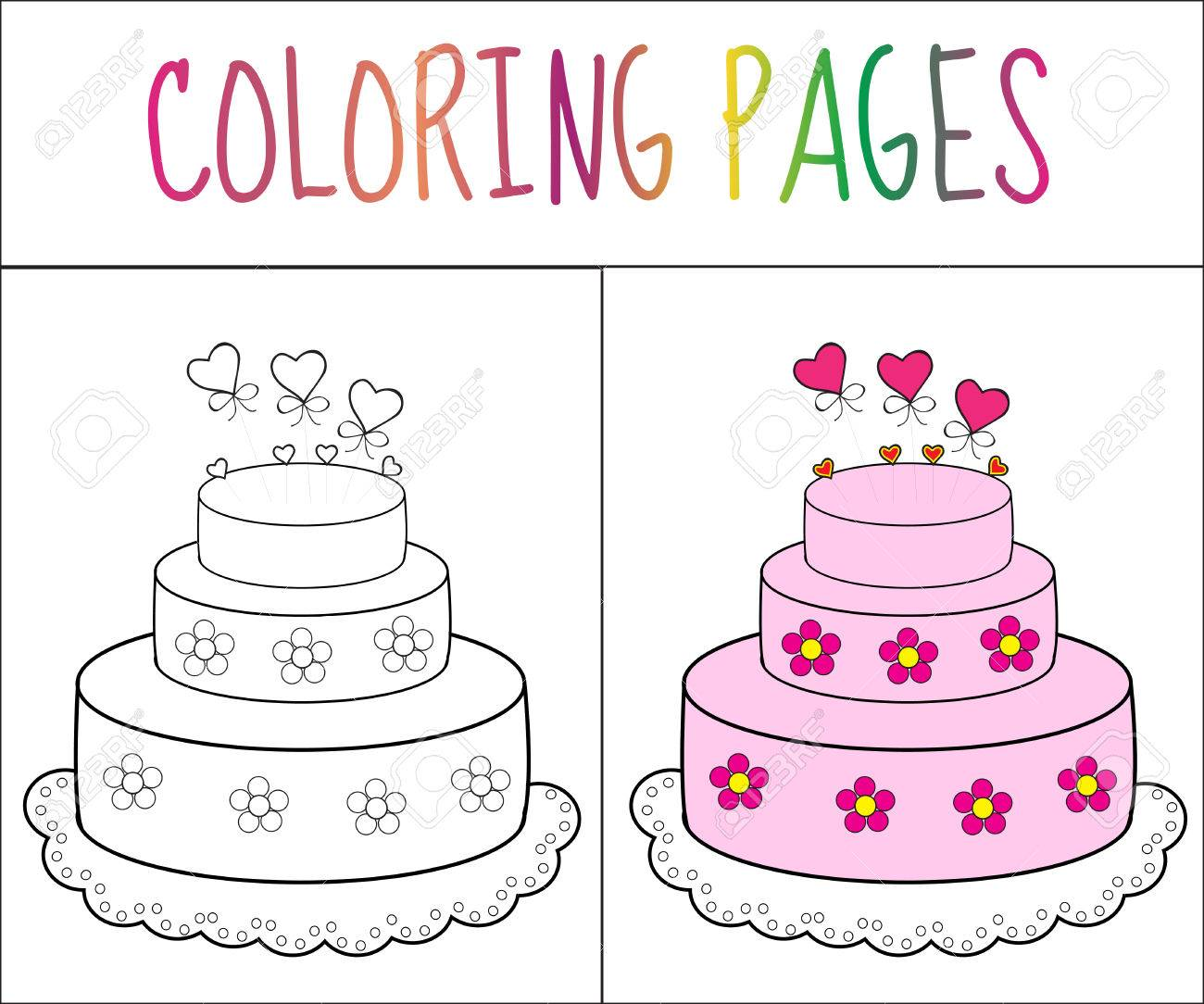 Coloring Book Page Cake. Sketch And Color Version. Coloring For ...