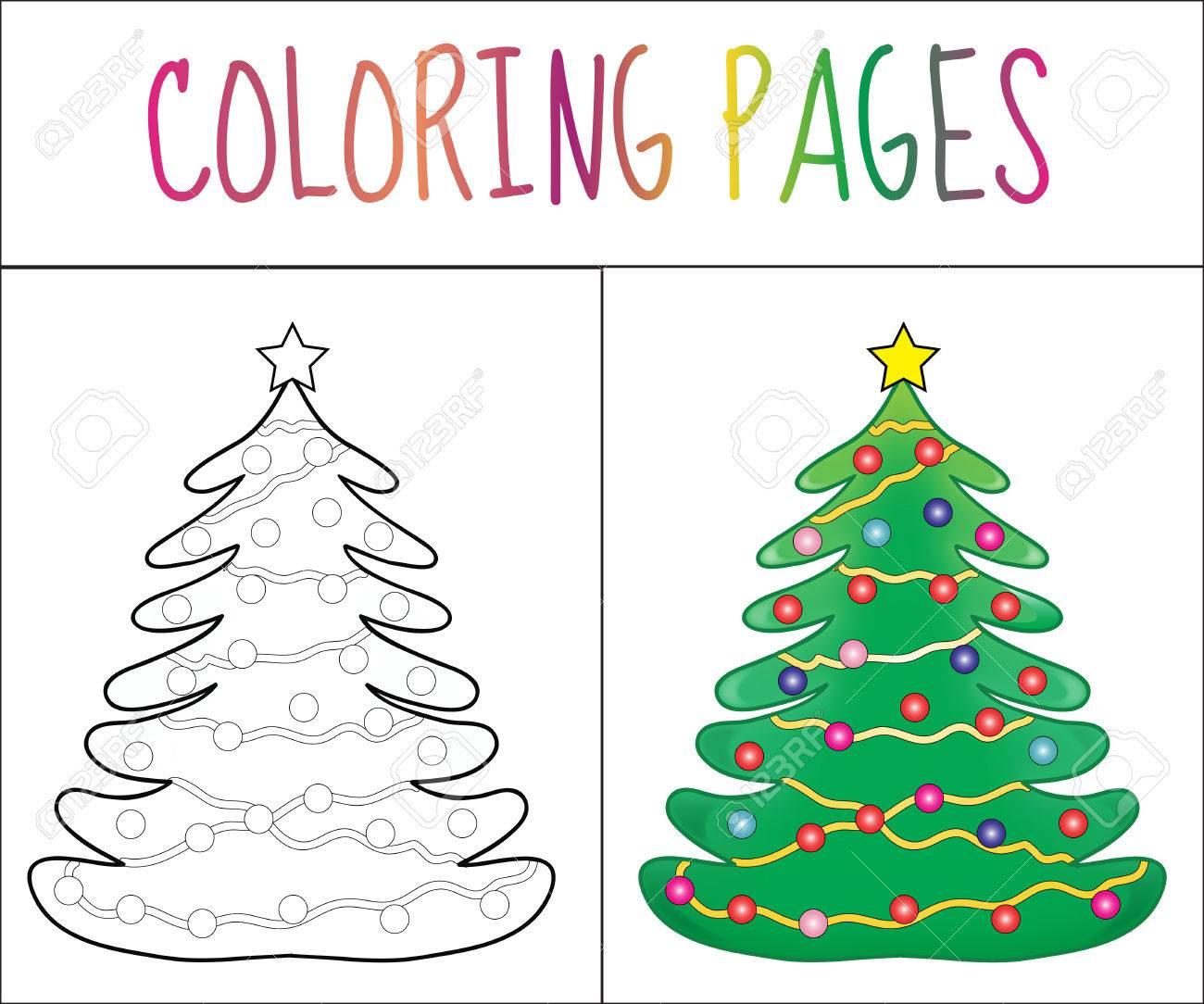 Malbuch Seite, Weihnachtsbaum Neujahr, Weihnachten. Skizze Und ...