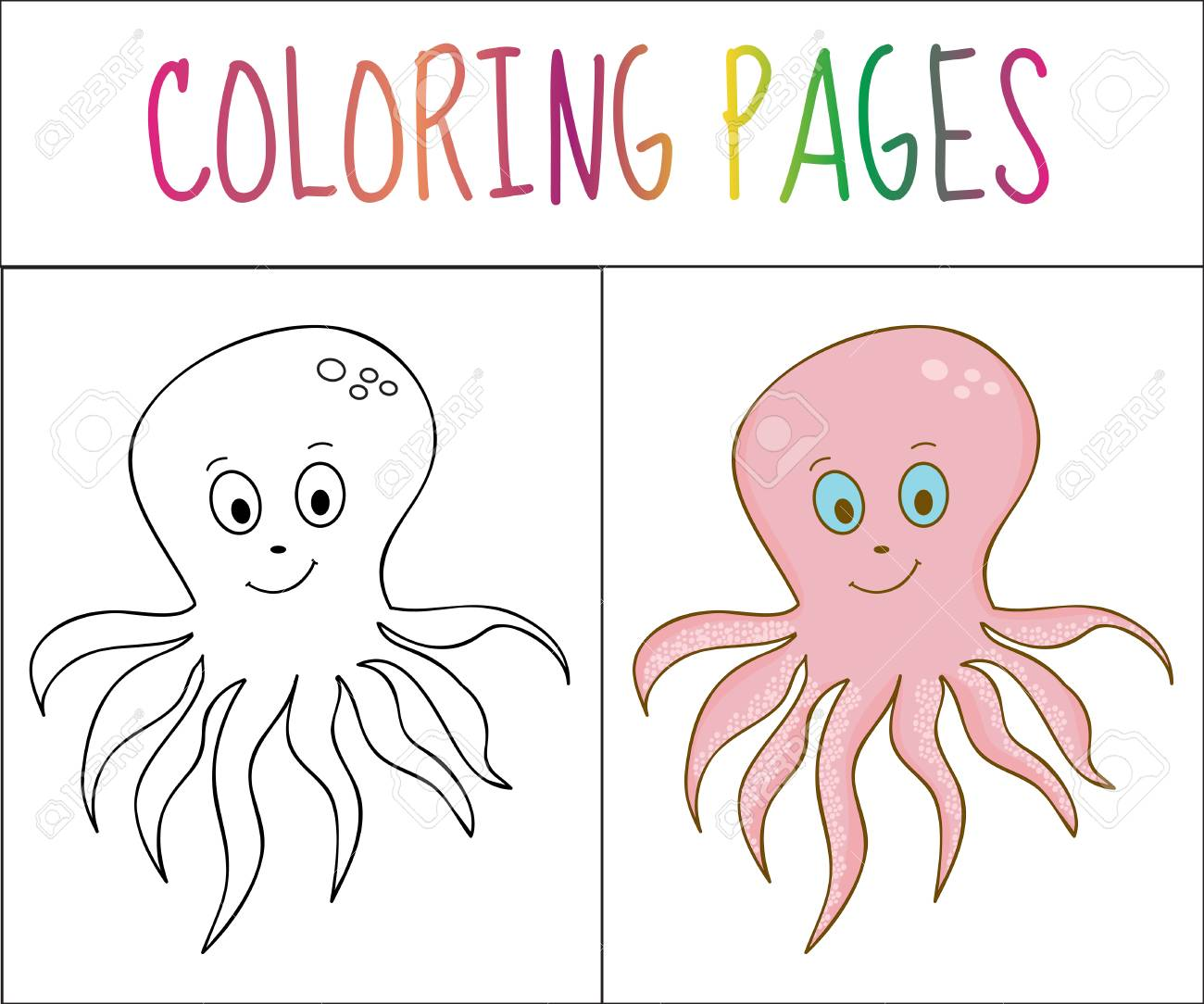 Coloring Book Page Octopus Sketch And Color Version Coloring Royalty Free Cliparts Vectors And Stock Illustration Image 61215901