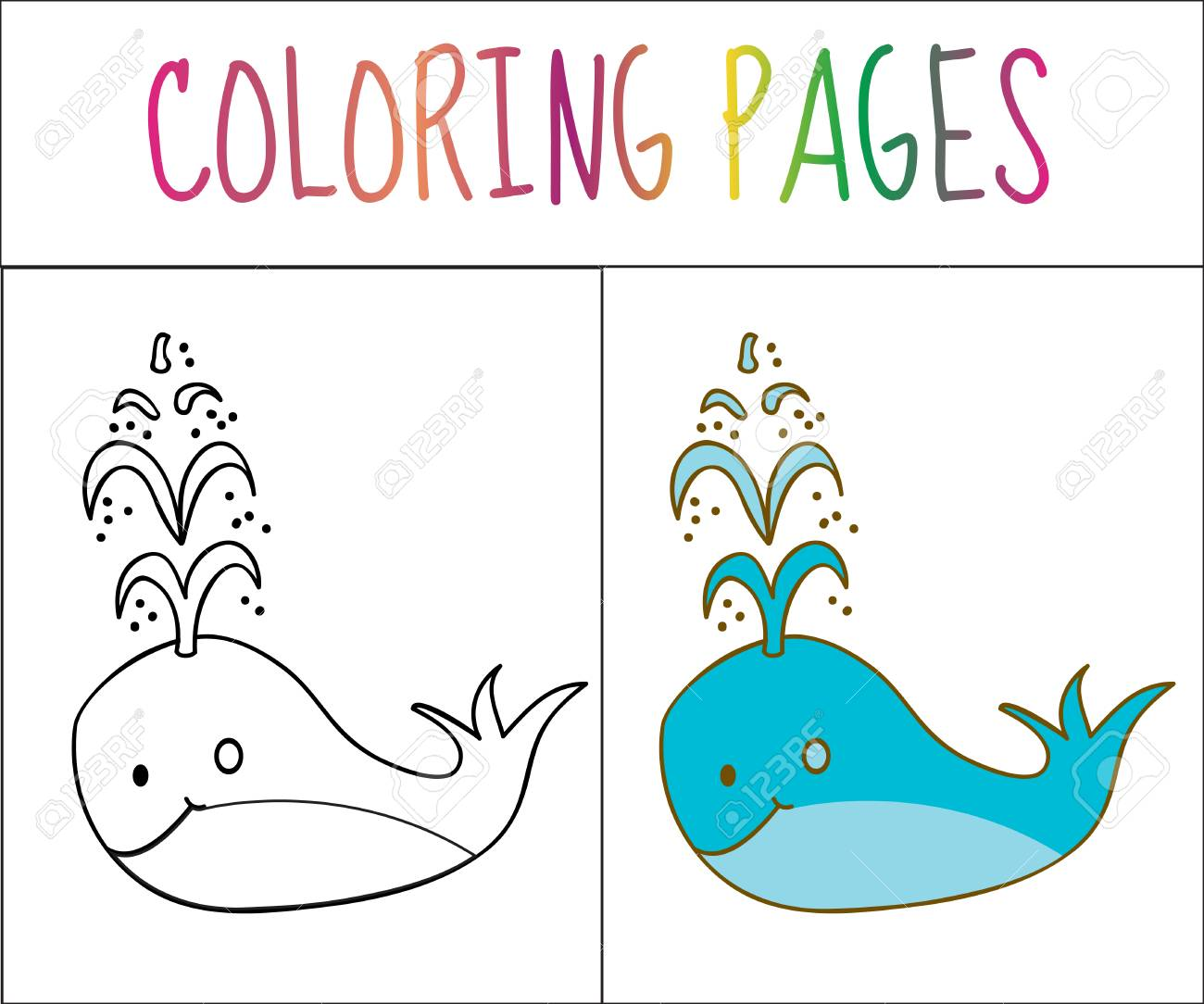Coloring Book Page Whale Sketch And Color Version Coloring