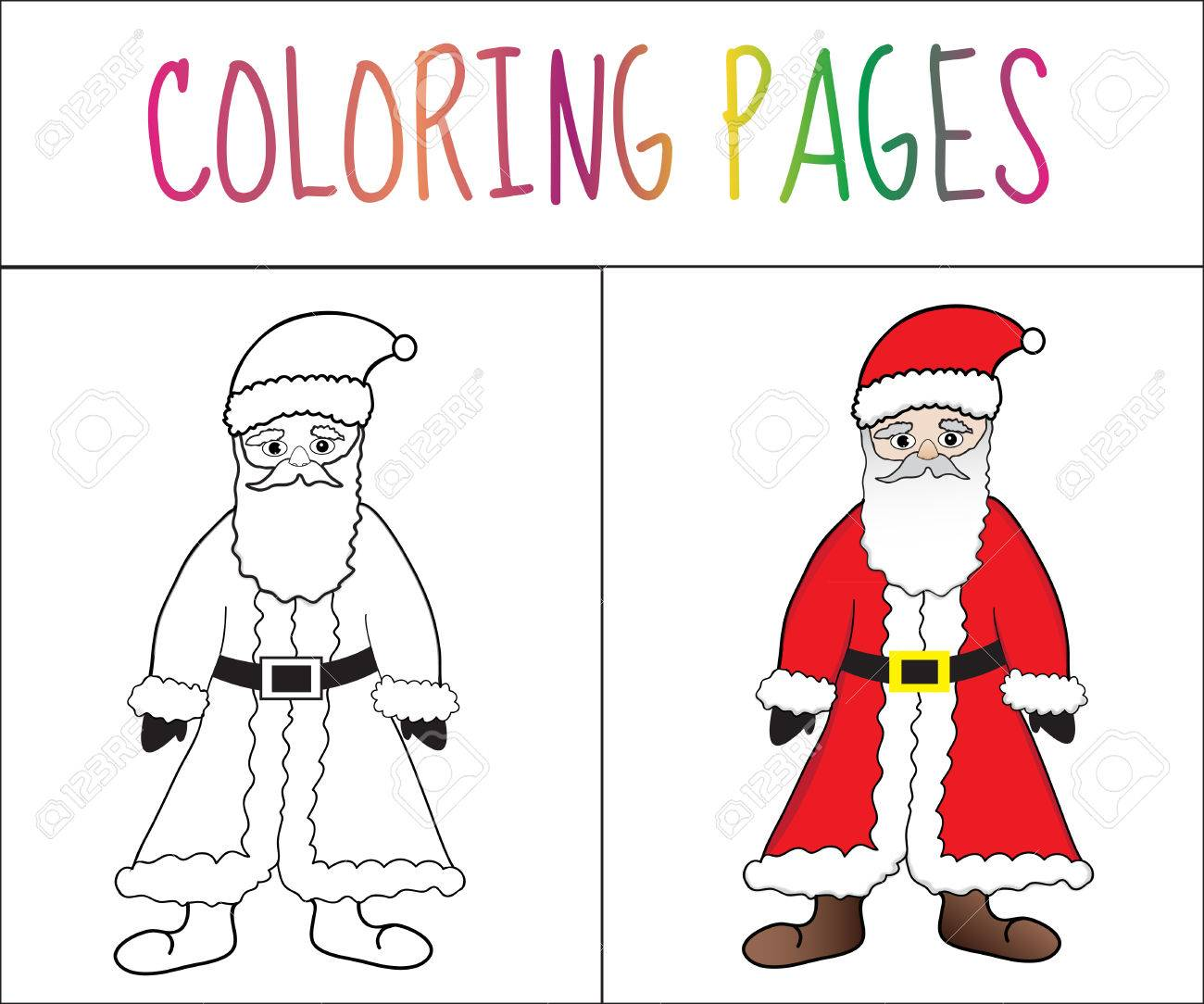 coloring book page santa claus sketch and color version coloring
