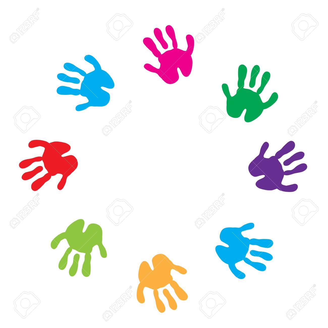 Kinder Hand Druckt Rahmen. Kinder Palmen Auf Weißem Hintergrund ...