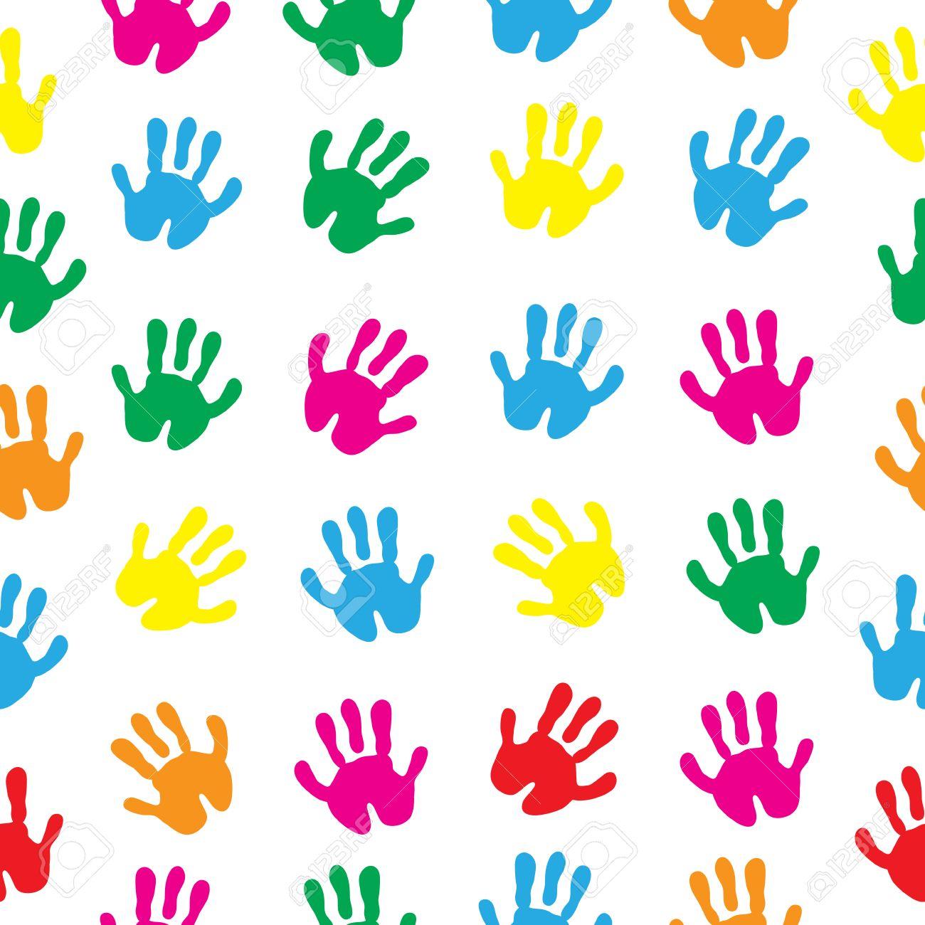 79e3b36148 Le mani dei bambini, stampe a mano senza giunte. palme sfondo carta da  parati per bambini. illustrazione di vettore