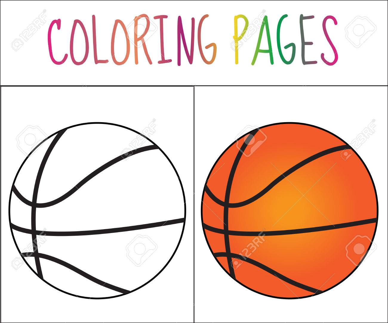 Libro De Colorear Pelota De Baloncesto Croquis Y Versión En Color Dibujos Para Colorear Para Niños Ilustración Vectorial