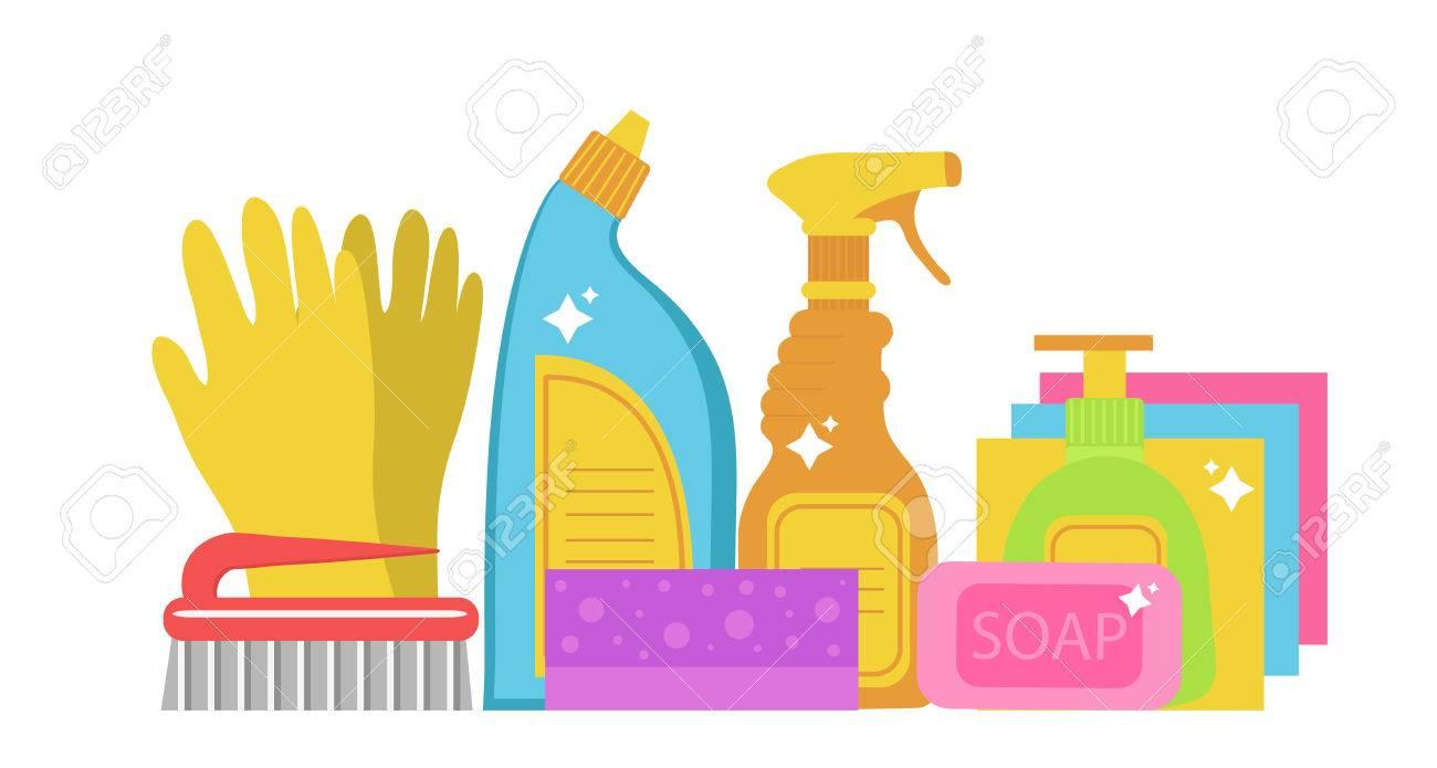 清掃用品、掃除道具を設定します。家庭用化学薬品。ベクトル図