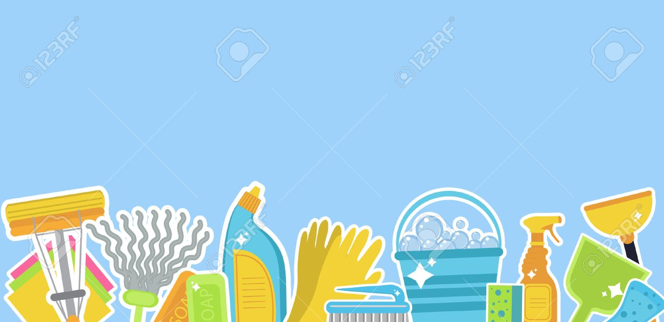 Set of icons for cleaning tools.Template for text. House cleaning staff. Flat design style. Cleaning design elements. Vector illustration - 63705446