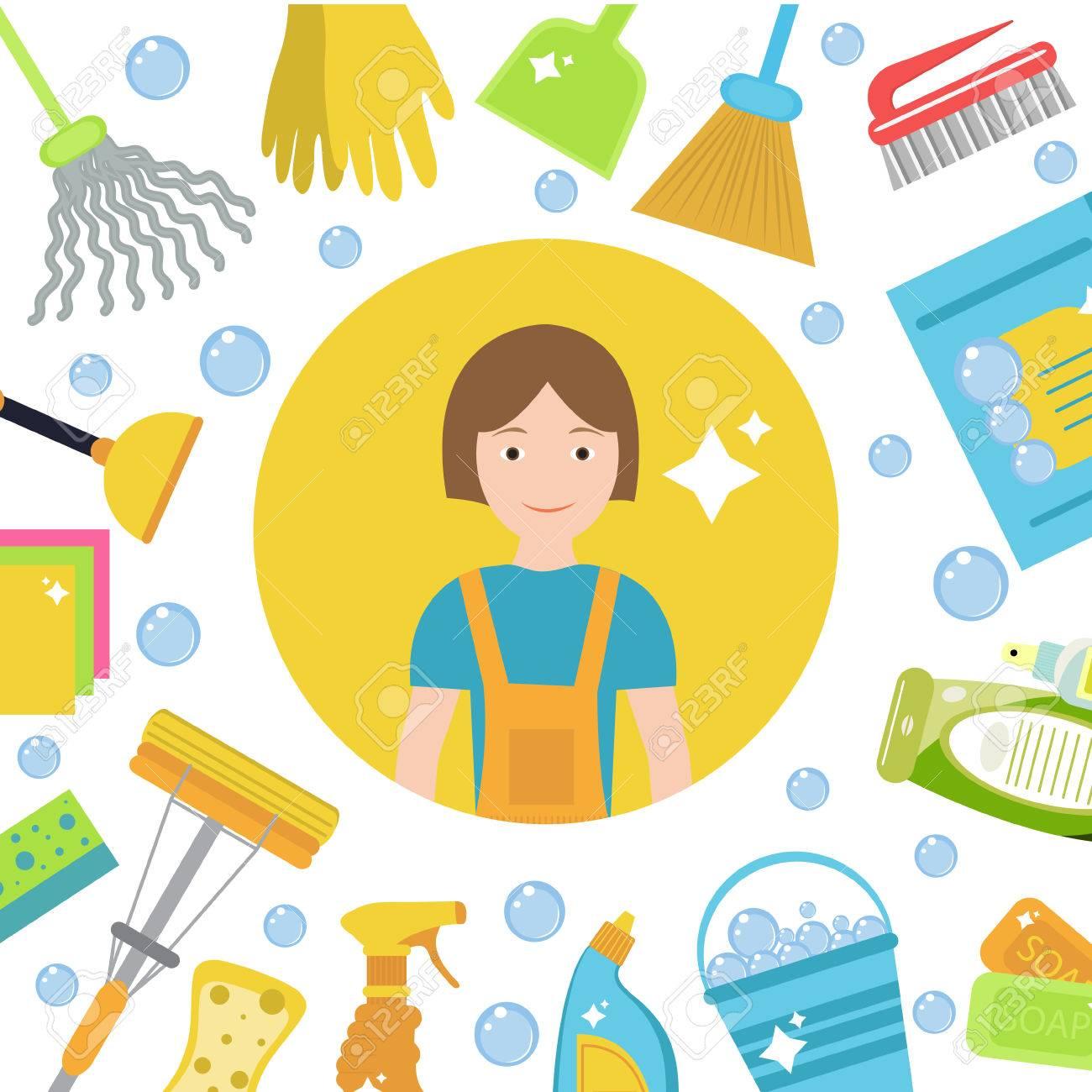 Conjunto De Iconos Para Herramientas De Limpieza. Casa Personal De ...
