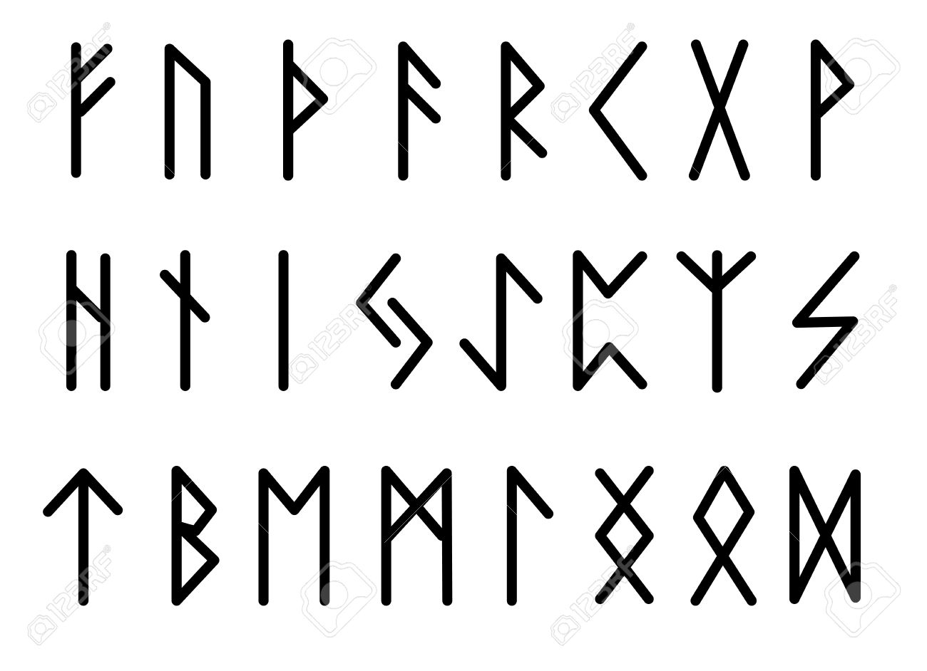 Alphabet Runes rune set of letters, runes alphabet. runic alphabet. writing