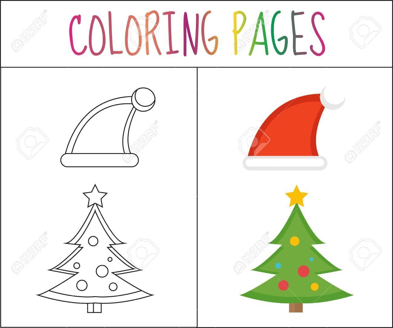 Colorear Pagina Del Libro Navidad Sombreros De Santa Y Arbol De