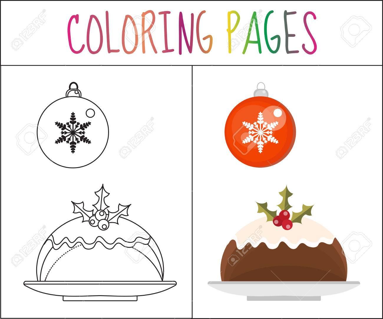 Colorear Página Del Libro. Pudín De Navidad Y Una Bola. Croquis Y ...