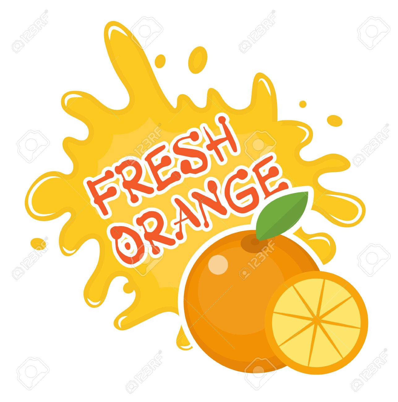fresh orange splash icon sticker fruit splashing isolated rh 123rf com