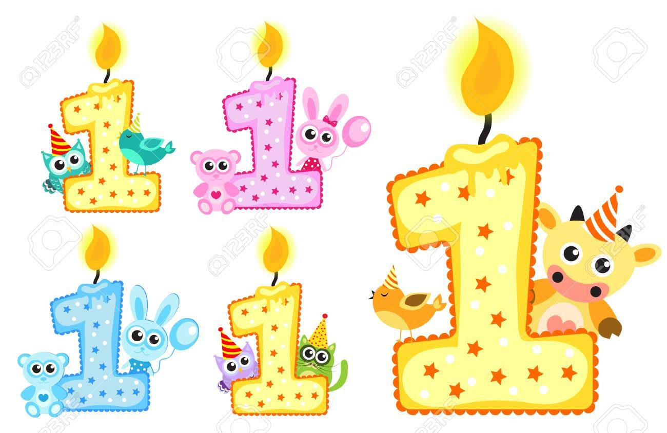 Set Happy First Birthday Candle And Animals Isolated On White Background Template For