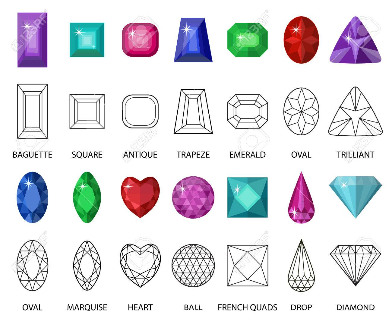 Gems And Cut Line Set. Different Facets For Crystals. Jewelry ...