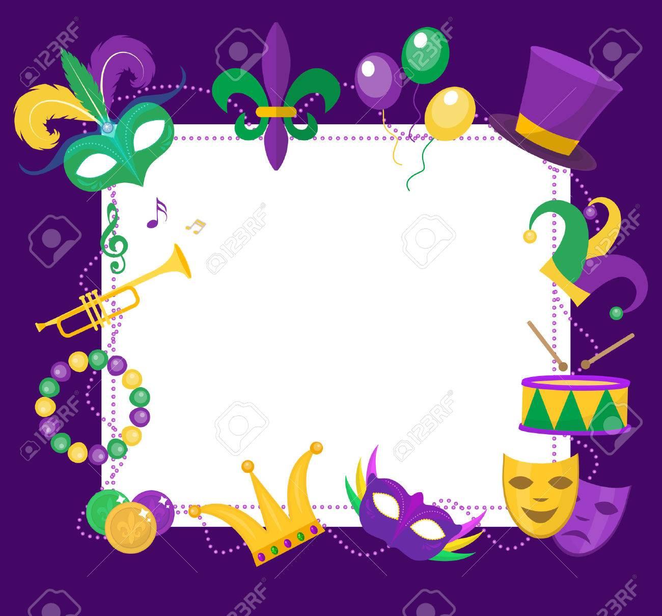 karneval-rahmen-vorlage mit platz für text. karneval-karnevals, Einladungen