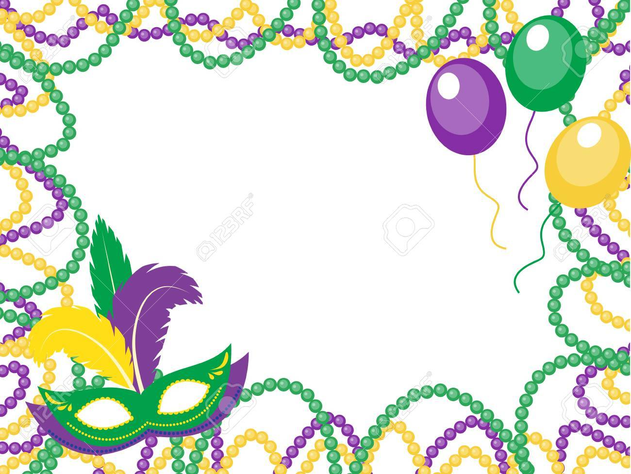 Mardi Gras Beads Colored Frame With A Mask And Balloons, Isolated ...
