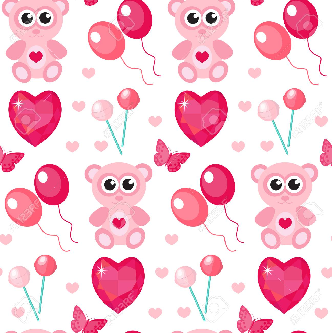 Cute seamless pattern valentines day with teddy bear balls cute seamless pattern valentines day with teddy bear balls hearts love romance voltagebd Choice Image