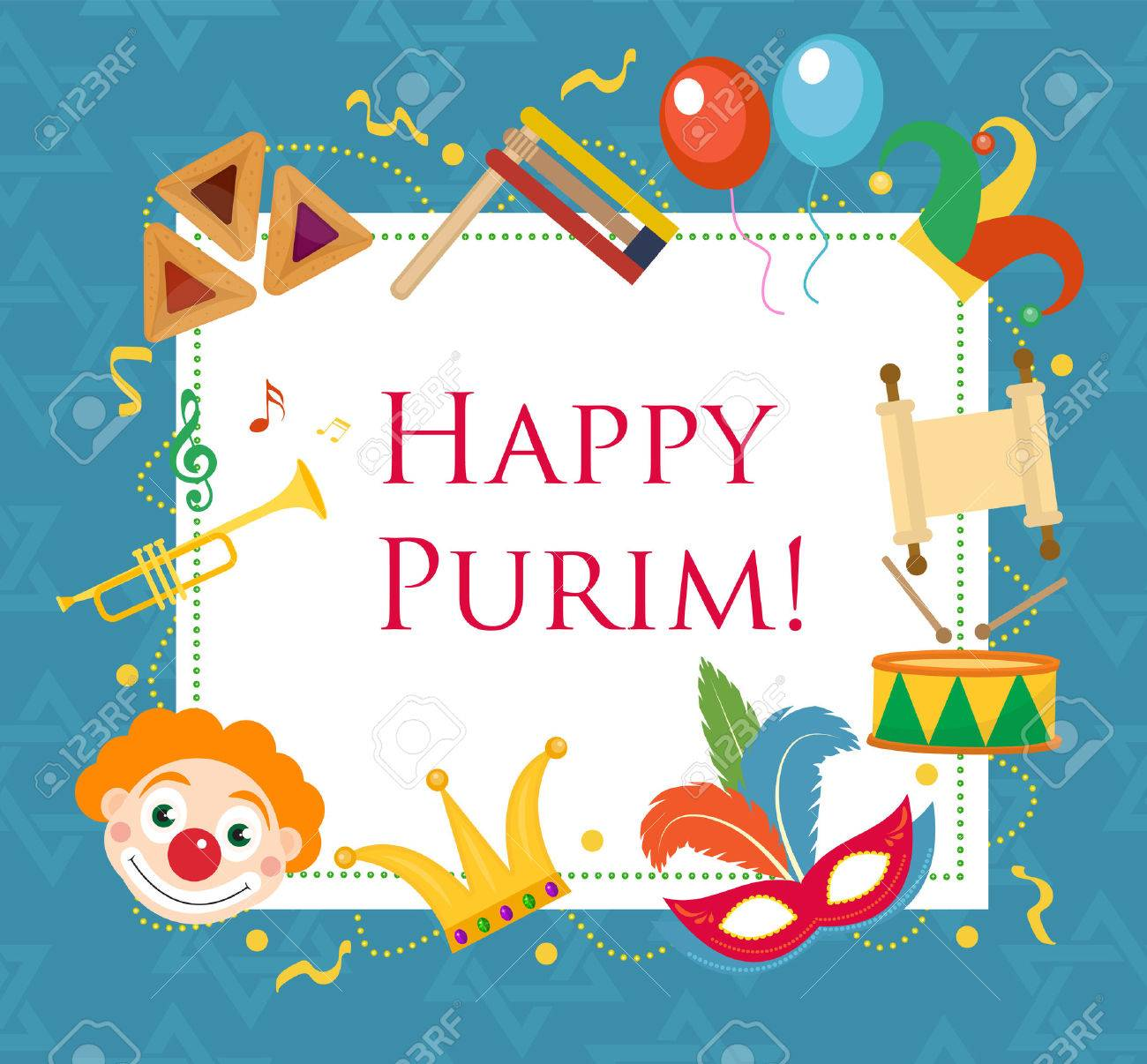 Jewish birthday stock photos royalty free business images happy purim template greeting card poster flyer frame for text purim kristyandbryce Images