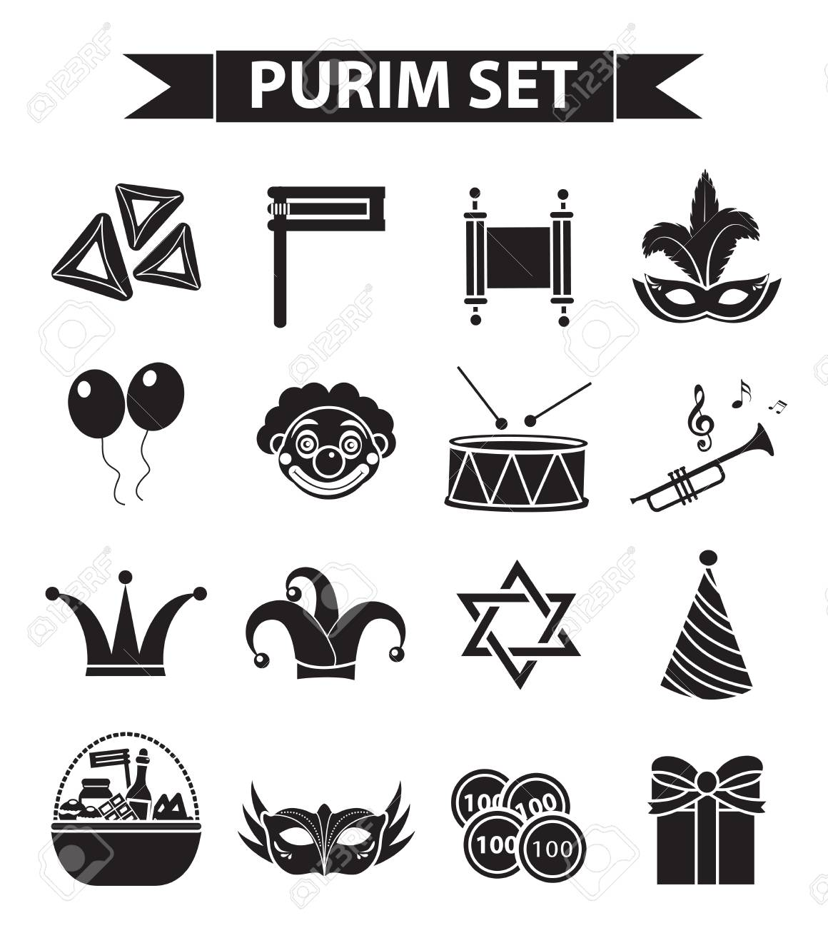 Happy Purim Carnival Icons Set Black Silhouette Style Purim