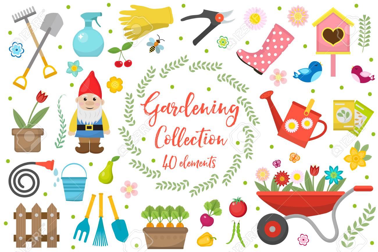 Jeu d\'icônes de jardinage, éléments de conception. Outils de jardinage et  collection de décor, isolés sur fond blanc. Illustration vectorielle