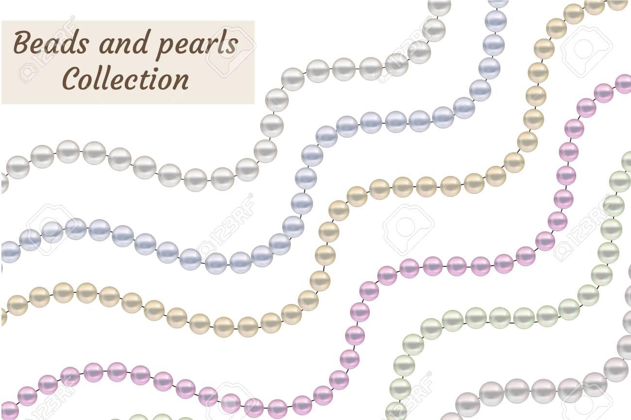 fa1cacc8ab85 Foto de archivo - Perlas realistas de perlas conjunto. colección de joyas  de la plantilla. ilustración vectorial