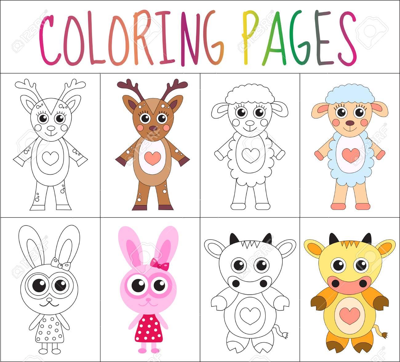 Conjunto De Página De Libro Para Colorear. Colección De Animales ...