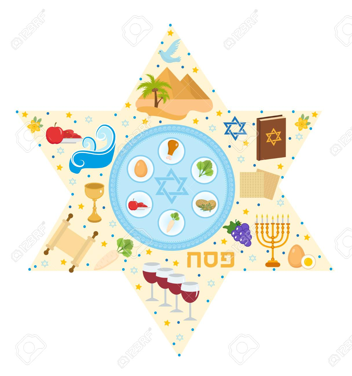 Passover greeting card with icons in the shape stars pesach stock illustration passover greeting card with icons in the shape stars pesach template for your design vector illustration m4hsunfo