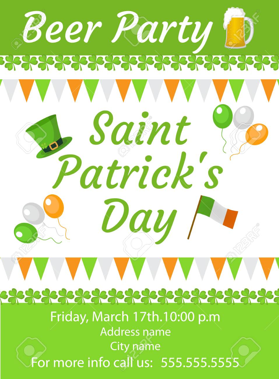 happy st patricks day invitation poster flyer beer party stock