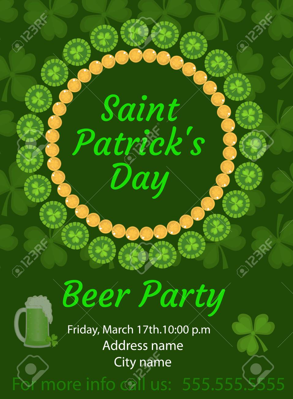 happy st patricks day invitation poster flyer beer party