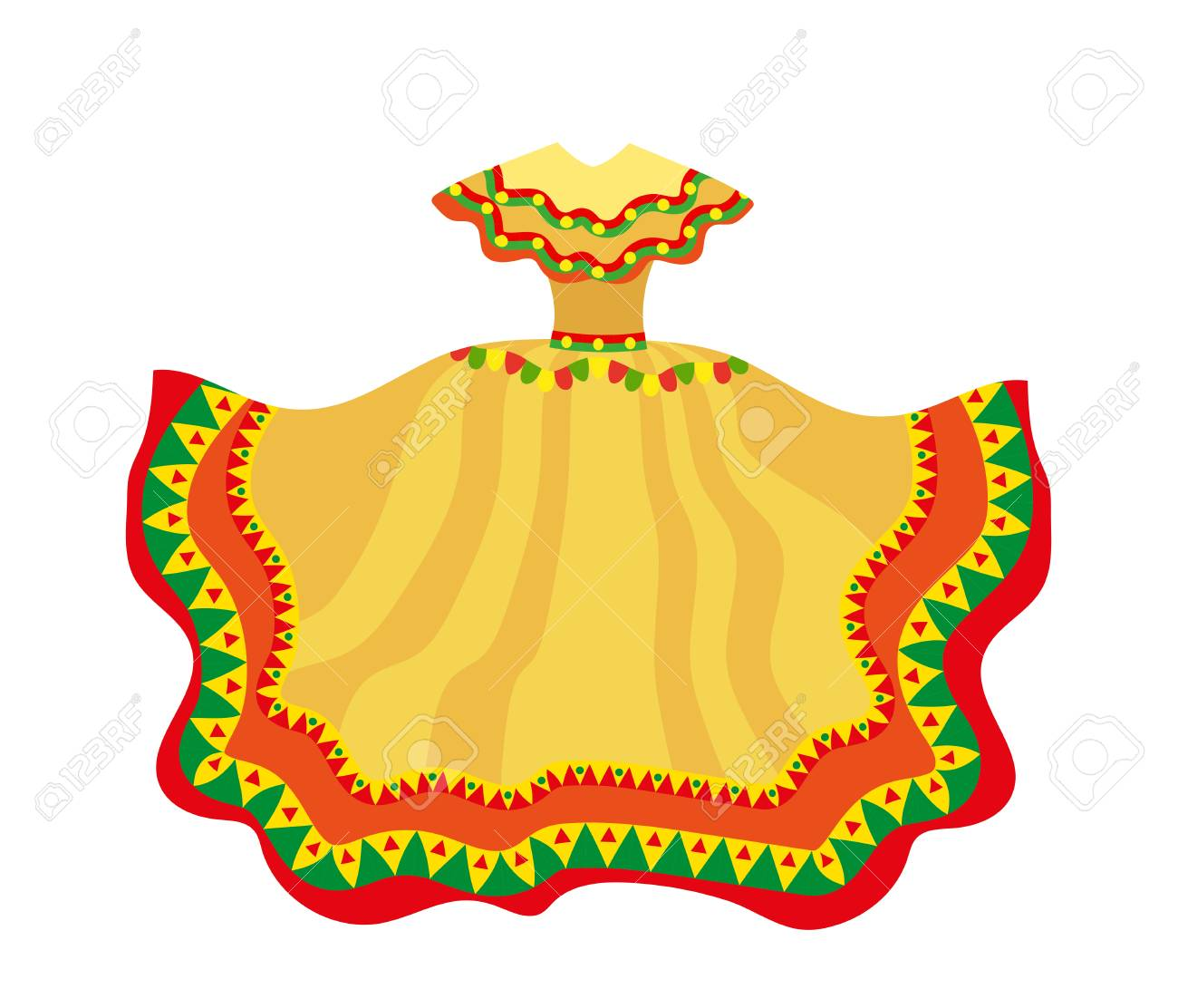 Mexican Dress Icon, Flat Style. Traditional Mexican Female Apparel ...