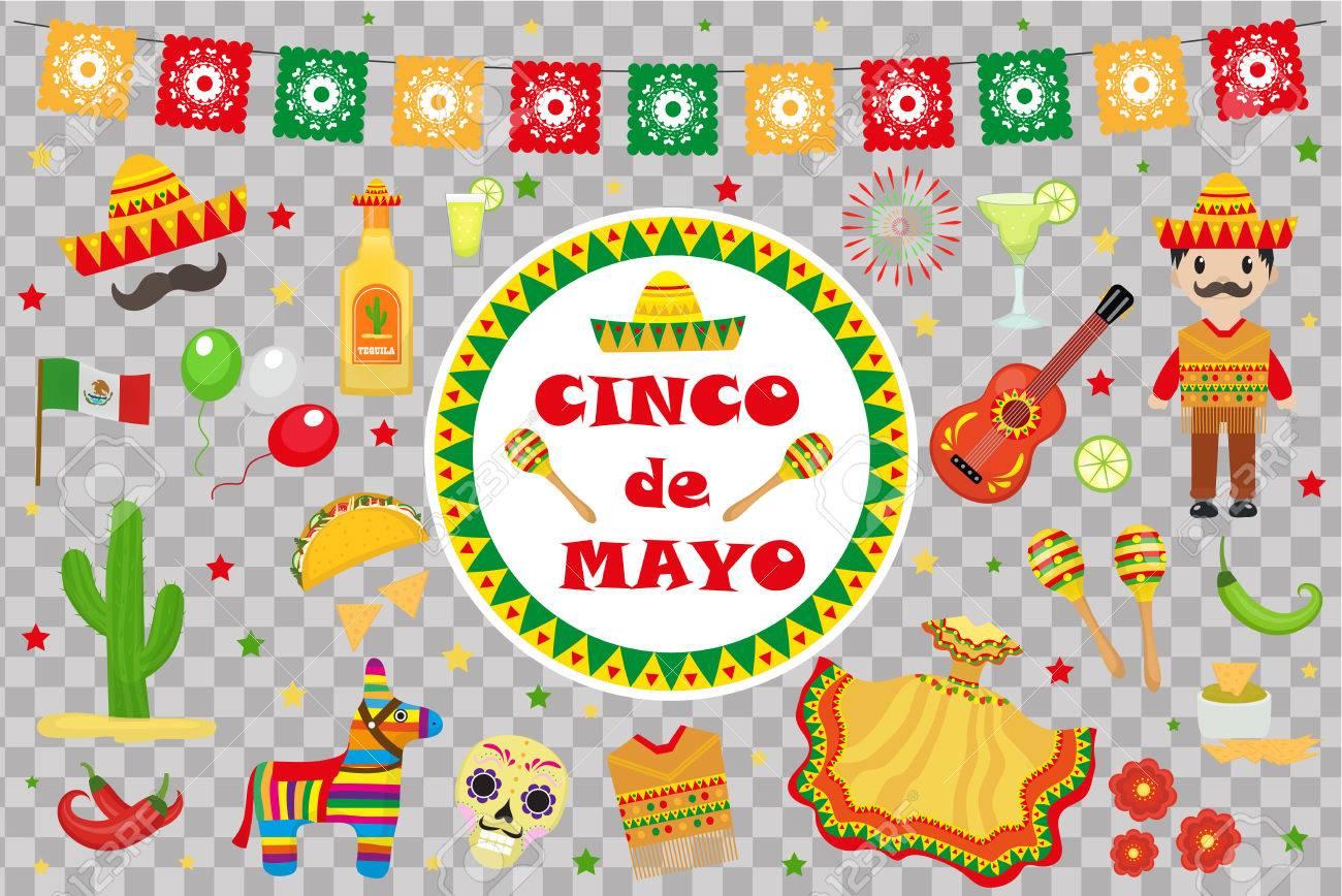 Cinco De Mayo Celebration In Mexico Icons Set Design Element