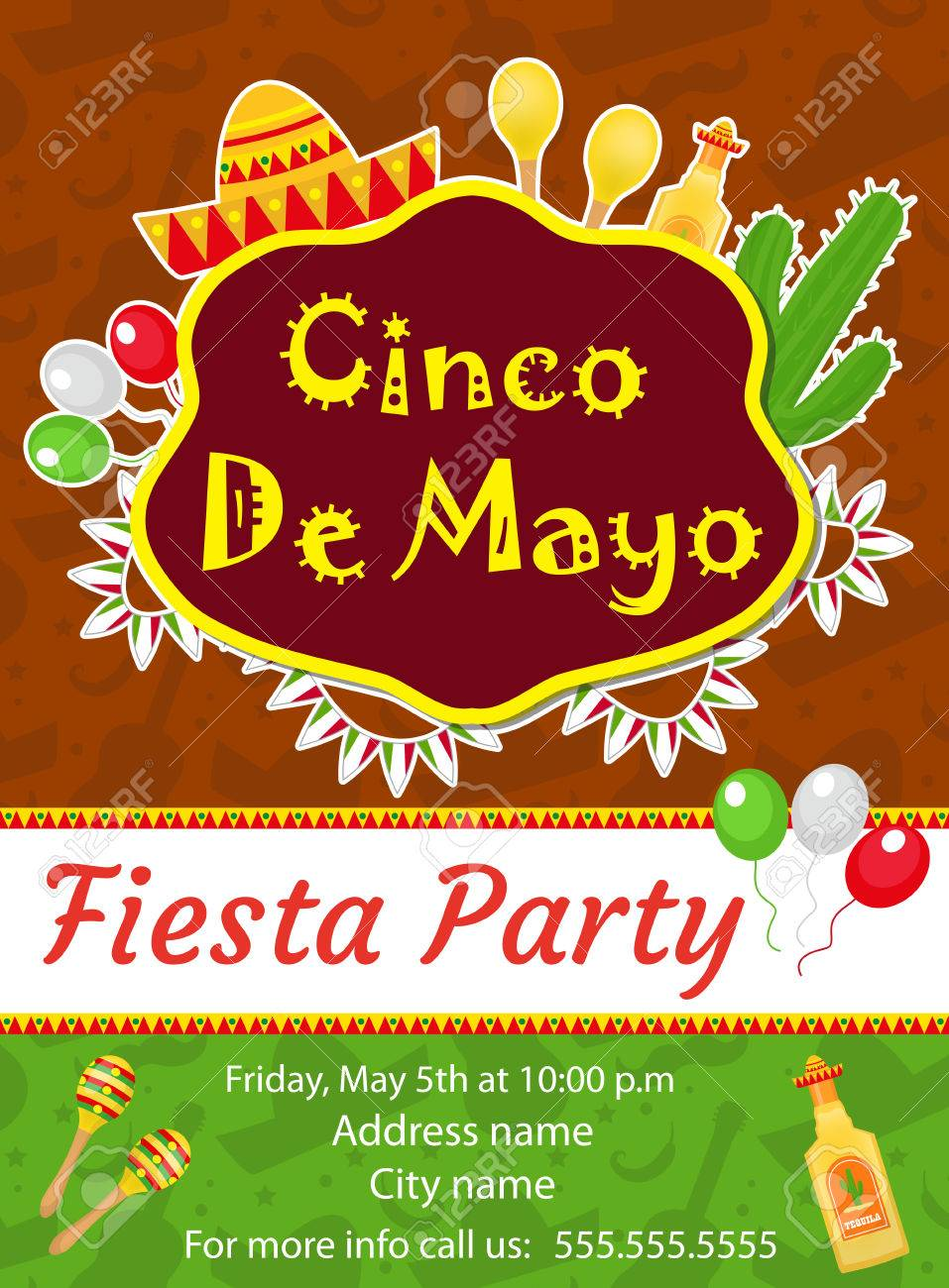 cinco de mayo invitation template flyer mexican holiday postcard
